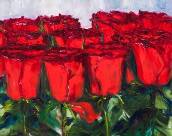 Oil Painting Dozen Red Roses Original Painting Palette Knife Wall Decor Art Perfect Gift 50x50cm