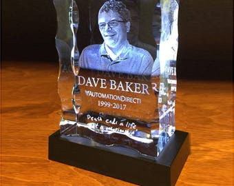 3D Wavy Block Crystal with Personalized Laser Engraving - 3 Dimensional Photo Crystal Photo Award