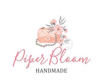 Premade Logo Handbag Flowers Floral Peach Woman Girl Fashion Handmade Custom Shop Logo Business Card Branding Design Wedding Signs LD213
