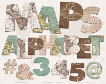"Digital Alphabet Letters Clipart Clip Art: ""Maps Alphabet"" digital alphabet, letters, number and signs with old maps"