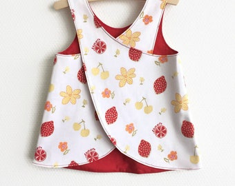 Reversible pinafore baby girl summer dress. Lemons and flowers. Cotton fabric. Baby girls. Cute toddler dress. Red yellow gold