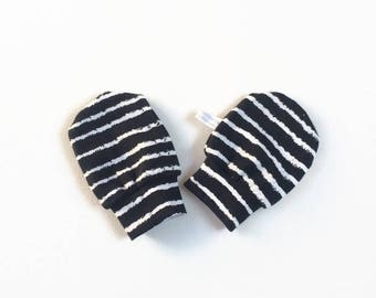 Black baby mittens, baby scratch mitts. Jersey cotton knit with white stripes. Baby Gift Girl Hand Covers. Organic cotton