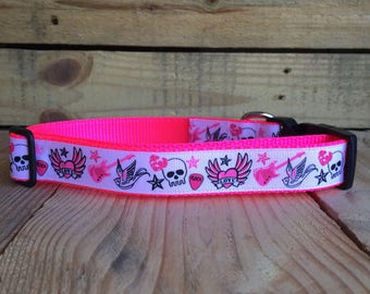 "Punk Dog Collar, tattoo dog collar, pink dog collar, Quick Release Buckle, 1"" Wide"