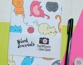 Cat Lover Gift, Handmade Journals in Cat Print- Travelers Notebook, Midori Insert, Cat Journal, Bullet Journal, A5 Insert, Notebook