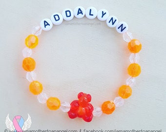 Teddy Bear - Personalized Handmade Bracelet - ORANGE