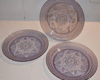 "Amethyst Purple Glass - SET of 3 - Dinner Plates - 10"" Diameter - Luminarc Cristal d'Arques Durand France - Beautiful Clear Purple Plates"