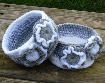 Crochet basket set of TWO-crocheted basket-crochet storage-basket storage-basket-hand crochet basket-storage-set of baskets-storage basket