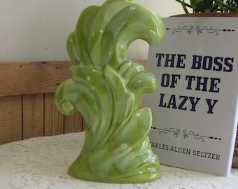 Royal Haeger Pottery #R773 Art Deco Greenery Ceramic Art Pottery Vase Chartreuse Glazed 1950s