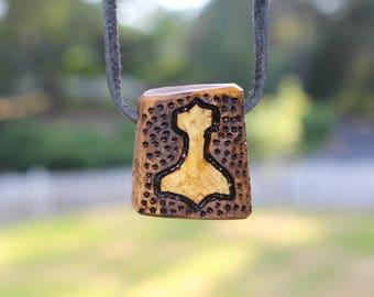 Carved Mjolnir Antler Pendant