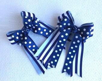 Horse Show Hair Bows/Beautiful Navy Blue White Equestrian Hair Bows