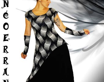 Asymmetric tunic, black tunic, stretch top 'black My style...' and its sleeves