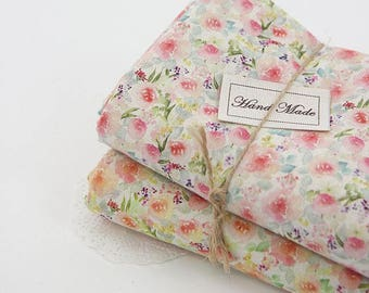 Floral Linen Blended Digital Printing Fabric by Yard, Width 150cm (59 Inches) - 2 Colors Selection