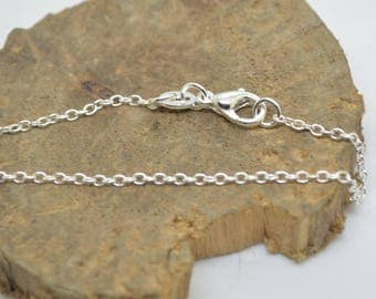 10 45 cm Silver 925 chains links 1 mm 925 sterling silver length 45 cm with clasp poinconnees