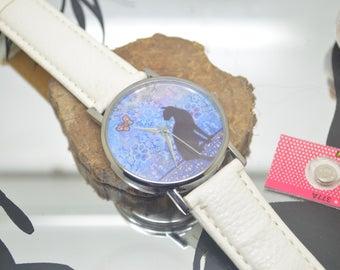 1 watch dial cats stroke White leather bracelet