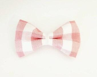 Blush Gingham mini bow. Available on headband or hair clip