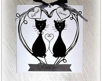 Black and white wedding invitation elegant cat tribe