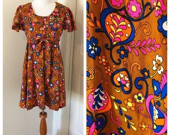 Vintage 1960's Babydoll Dress. Vintage 60's Neon Print Babydoll Dress. Vintage Flower Power Mini Dress. Neon Floral 1960's Mini Dress.