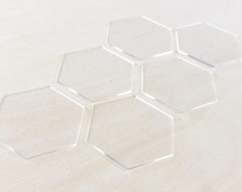 """Blank Acrylic Tiles - Clear, White, or Black - Wedding Place Cards - Set of 6 - Hand Lettering and Calligraphy Tiles - 3"""" Wide - Hexagon"""