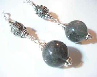 Rutilated Quartz Stones Earrings Modern Beaded Gray Tone Earrings Chakra 15 mm AA Rutilated Quartz Balls Spiritual Guidance Energy Earrings