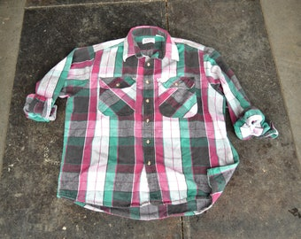 90s Grunge Flannel Shirt | Fuchsia Green Black plaid | Oversized Long Sleeve Lumberjack Vintage Indie Hipster Shirt 90s Casual  Large XL