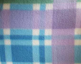 Blue, Lavender and Green Plaid Fleece Fabric (1.5 yards)