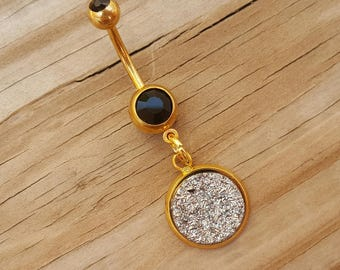 Sparkling Silver Druzy Belly Button Ring, Bling Belly Ring, Gold Belly Ring, Body Jewelry, Navel Belly Button Piercing.