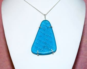 """Large Free Form Turquoise Blue Sea Glass in a Sterling Silver Wire Cage Setting. 16"""" Sterling Silver Chain & Gift Packaging Included."""