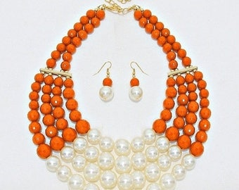 Orange and creams, Necklace and earrings set, Multi Strands, prarls necklace, Bib Necklace, cream pearls, statement, handmade gift idea.
