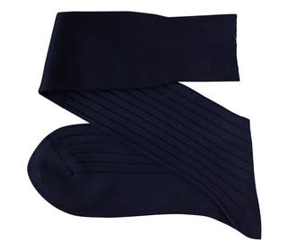 Navy Blue Men Over The Calf New Ribbed %100Cotton Lisle Casual Dress Solid Cotton Socks