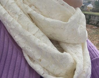 Sequined Lace Ivory Infinity Scarf