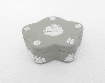 Wedgwood Jasperware Trinket Pot with Lid Sage Green - Classical Design, Greek Mythology, Chariot and Horses - Vintage Ceramic Trinket Box