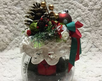 Decorative Christmas Jar! Cardinal in Nest! PRETTY! Handcrafted!~