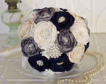 Fabric and Brooch Wedding Bouquet, Navy, Charcoal and Ivory Satin, chiffon and Lace Bridal Bouquet