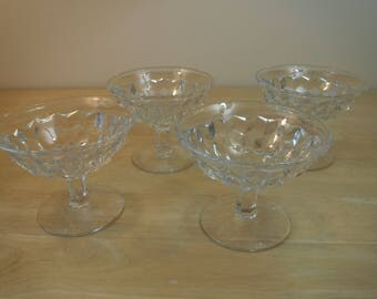 "Fostoria 'American-Clear' Low Sherbet Dishes, 4-1/4"" Diameter x 3-1/4"" Tall, Set of 4"