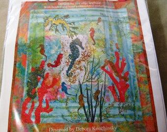 Sea Horses Mini Quilt Kit with Fabric Pattern Destash 1259