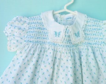 1950's Vintage White w/ Blue Rosebuds Infant Smocked Dress/Tunic   by Nannette       12- 18 Months