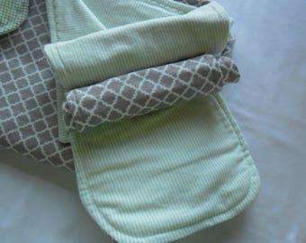 Burp Cloths, Boy or Girl Burp Cloth, Mint Green and Gray Burp Cloths, Baby Shower Gift,