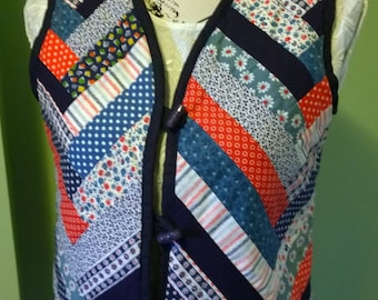 Red, white & blue patchwork quilted waistcoat vintage handmade