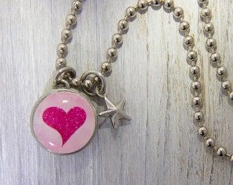 Heart Jewelry, Girls necklace, Girls Bracelet, Children's Jewelry, Kids Jewelry, kids accessories, Interchangeable Jewelry, Photo jewelry