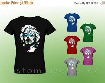 "ON SALE TODAY Marilyn Monroe Sugar Skull  ""Women T-Shirt"" - sexy star Marilyn Monroe Beautiful  Sugar Skull  T Shirt"