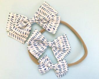 Blue Paint Strokes Summer Hair Bow