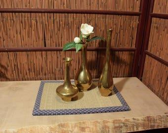 Vintage Japanese Metal Bud Vase Gold Brass Set of 3