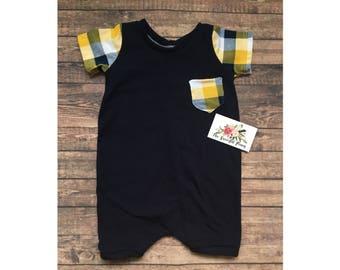 Trendy Yellow-Navy plaid Harem Shorts Romper