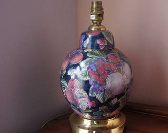 Vintage ceramics  lamp stand with brass pedestal.