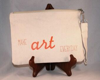 Canvas Pencil Case, Cosmetic Bag, Wristlet