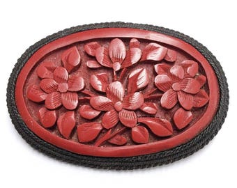 Vintage Antique 20s Carved Cinnabar Brooch Copper Art Nouveau Victorian Brooches Stamped China
