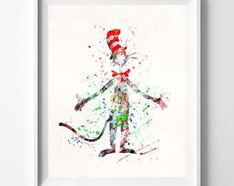 Dr. Seuss Poster, Dr. Seuss Gift, Dr. Seuss Art, Doctor Seuss, Cat in the Hat, Watercolor Art, Nursery Posters, Valentines Day Gift