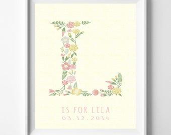 Baby Art Print, Baby Artwork, Children Room, Nursery Name, Lila, Lily, Lisa, Laura, Monogram Alphabet, Monogram Art, Valentines Day Gift