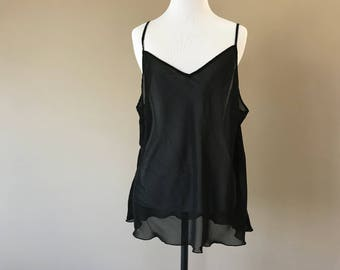 XL / Sheer Cami Lingerie Top / See Through Black Chiffon Camisole Tank / Size Extra Large / FREE USA Shipping