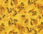 Honey Bees Honeycomb Elizabeth Studio Cotton Fabric 510 Honey, By the Yard